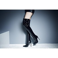 Women Autumn Winter  PU Over The Knee High Boots Fashion Sexy Thigh High Heels Shoes
