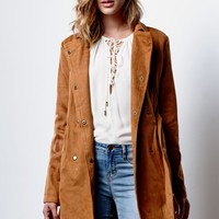 Renamed Faux Suede Trench Coat - Womens Jacket