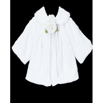 White Plush Faux Fur Short Half Coat Jacket (Baby to Girls Size 10)