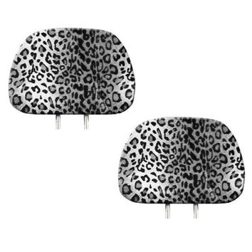Licensed Official New 2pc Snow Gray Leopard Print Headrest Covers Match Seat Covers / Floor Mats