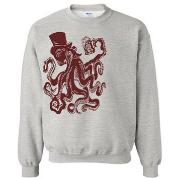 Otto The Octopus Sweater Flex Fleece Pullover Classic Sweatshirt - S M L XL and XXL (14 Color Options)