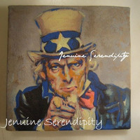 3x3 inch miniature canvas acrylic Uncle Sam I Want You painting