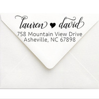 Couples Wedding Return Address Stamp | Personalized Self Inking Stamp | Calligraphy Wedding Address Stamp | Couples Engagement Gift Custom