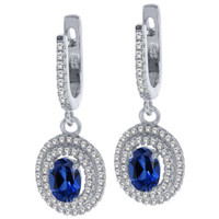 2.82 Ct Oval Blue Simulated Sapphire 925 Sterling Silver Dangle Earrings