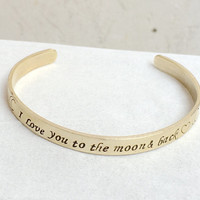 I love you to the moon and back bracelet, personalized bracelet, Open bangle bracelet, Gold open bangle, Personalized jewelry for women