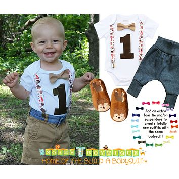 Woodland First Birthday Outfit Shirt with Foxes Forest Animals