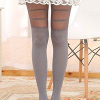 Light Gray Lace Stripe Paneled  Hosiery Legging