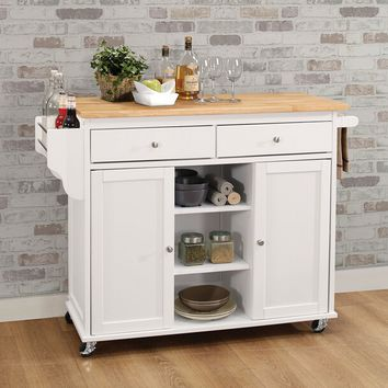 Acme 98305 Tullarick natural and white finish wood and metal accents kitchen island cart