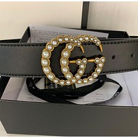 Guchi GG pearl buckle belt Black