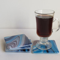 Purple, Blue and White Fused Glass Coasters, Statteam
