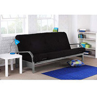 Silver Metal Arm Futon, Black