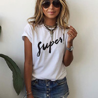 Summer White Short Sleeve Letters Printed Casual  T-shirt