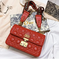 Dior Fashion New leather shopping leisure chain shoulder bag women crossbody bag Red