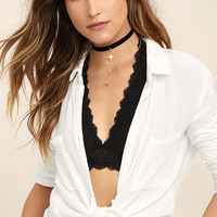 Free People Galloon Halter Black Lace Bralette