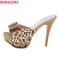 women sandals fashion high heels sexy Leopard platform shoes causal slippers Hot sale EUR size 34-39