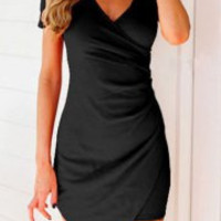 Black Short Sleeve Asymmetrical Mini Dress