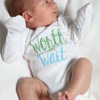 Worth the Wait Baby Boy Onesuit