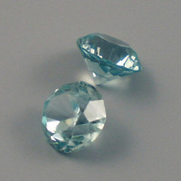 Zircon: 2.09twt Blue Round Shape Gemstone Pair, Match Set, Natural Hand Made Faceted Gem, Loose Precious Mineral, AAA Jewelry Supply 20222