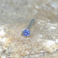 18g or 20g Blue Crystal Nose Stud Nose Ring