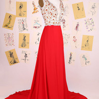 Sexy V Neck Heavy Beading See Through Long Prom Dress/Red Long Train Evening Dress/Open Back Prom Dress