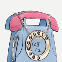 Blue Call Me Tel Bag With Chain Strap -SheIn(Sheinside)