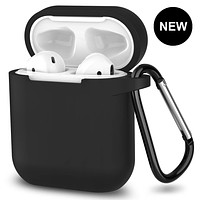 New AirPods Case, 360°Protective Silicone AirPods Accessories Kit Compatable with Apple AirPods 1st/2nd Charging Case [Not for Wireless Charging Case] - Black