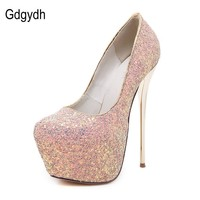 Gdgydh Fashion Women Platform Shoes New Spring Autumn Sequined Cloth Women Pumps Thin Heels Sexy Slim Office Shoes Size 40