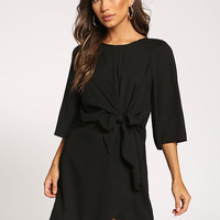 Black Tie Front Surplice Dress