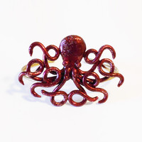 Gothic Burgundy Frosted Octopus Cuff Bracelet