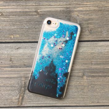 Mermaid on Blue Glitter iPhone Case