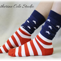 AMERICAN PRIDE an American Flag basic sock, a great Patriotic fun sock for women, Made in America by Catherine Cole Studio SK - Flag