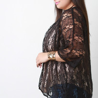 Semi-Sheer Lace Open Front Cardigan