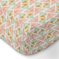 Crystal Arrowheads Aztec Tribal Fitted Crib Sheet