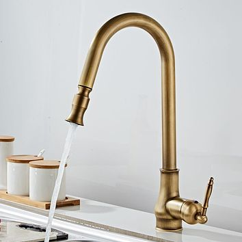 Antique Bronze Kitchen Faucets Pull Out Hot Cold Sink  Swivel 360 Degree Water Faucet Water Mixer Pull Down Mixer Taps