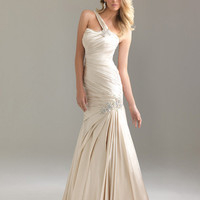 Gold Ruched Charmeuse Satin Fitted One Shoulder Prom Dress - Unique Vintage