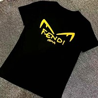 Fendi New fashion letter eye print couple top top t-shirt Black