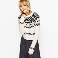 CROPPED JACQUARD SWEATER DETAILS