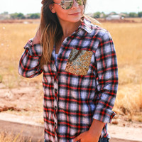 THE ULTIMATE SEQUIN FLANNEL TOP