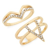 Topshop Set of 2 Crystal V Rings | Nordstrom