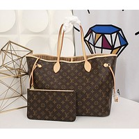 LV Louis Vuitton Classic Hot Sale Two-Piece Shoulder Bag Shopping Bag Full of Printed Letters Coffee lv print