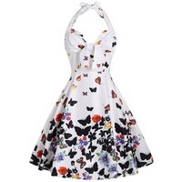 1950's Vintage Retro Butterfly Halter Dress