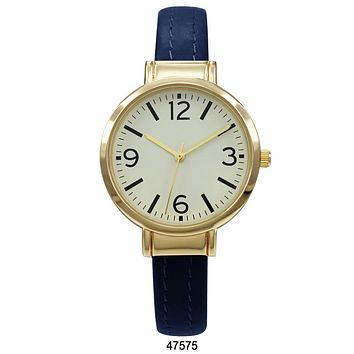 Blue Vegan Leather Cuff Watch with Gold Case and Gold Dial