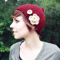 Pixie Hat Red Pixie Hat Crochet Hat Beanie by talk2thetrees