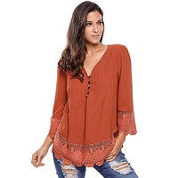 2017 Autumn New Sexy Women Victorian Shirts Top Lace Detail Button Up 3 Quarter Sleeved Blouse 8 Color femininas Blusas LC25881