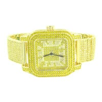 Fully Iced Out Watch Canary Simulated Diamonds Mens