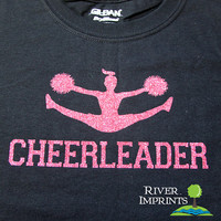 Youth CHEERLEADER, youth girls sparkly glitter cheer tee shirt