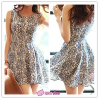 S-XL Blue and White Floral Sleeveless Dress SP151932