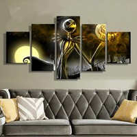 Canvas Prints Wall Art Pictures 5 Pieces Hallowmas Jack Skellington Painting Living Room Decor Nightmare Before Christmas Poster