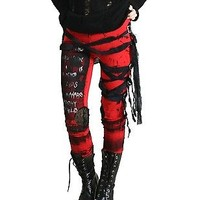 Ultra Long Goth Punk Rocker Grunge Mummy Bandage Raggedy Red Tie Dye Leggings