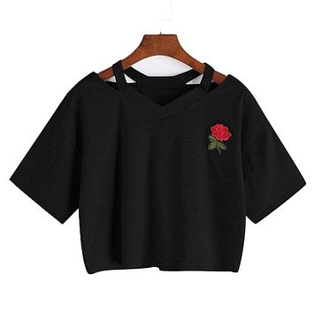 LASPERAL Sexy Floral Printed T Shirt Women Solid Short Summer Hollow Out Casual Harajuku Crop Top Rose Embroidery T-shirts 2018